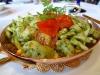 Trofie seafood pasta with Genovese pesto