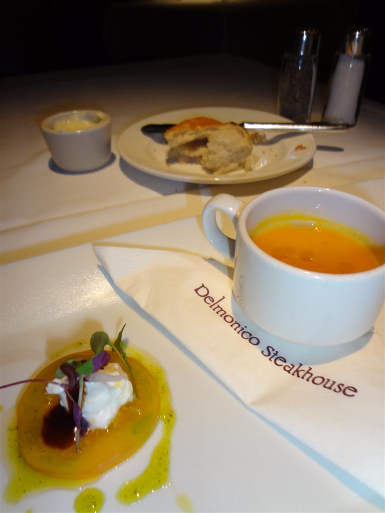 Heirloom tomato with carrot soup