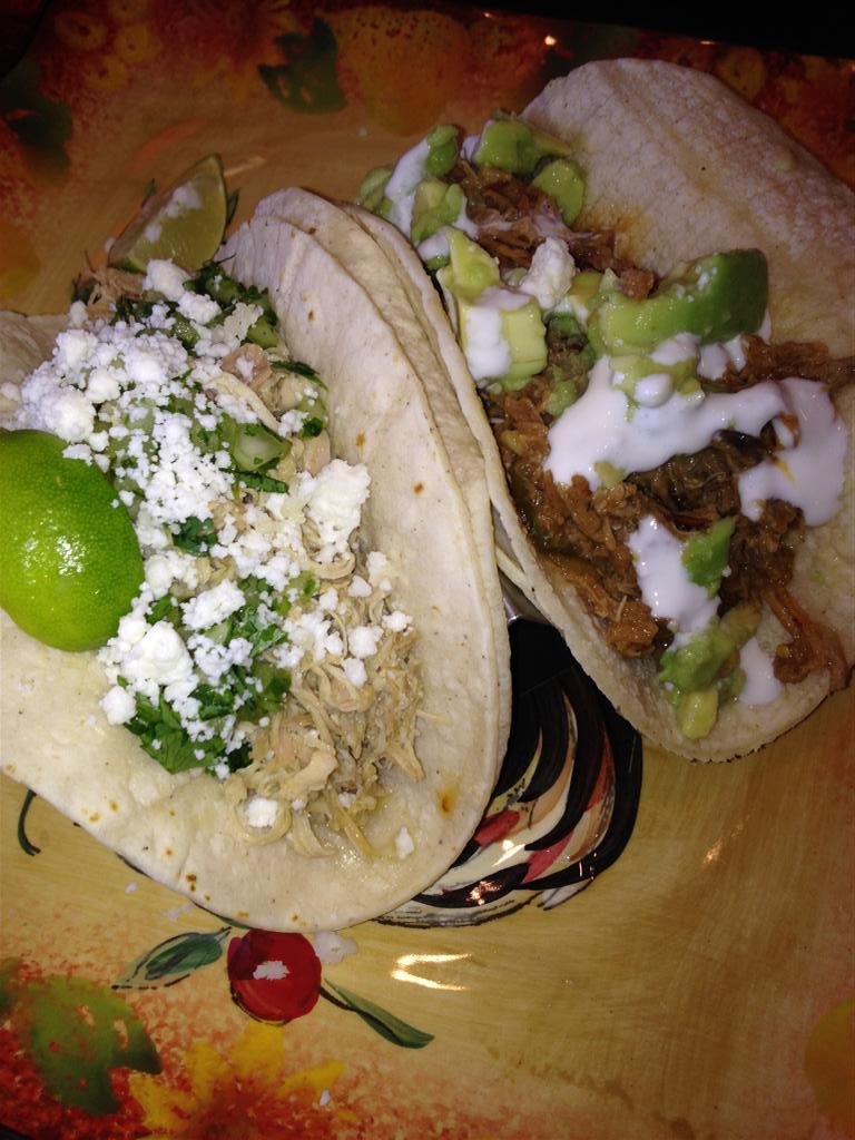 Chicken and pork shoulder tacos