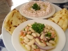 Fat Greek taramosalata and fasolada