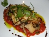 Trumpet mushrooms and preserved eggplant