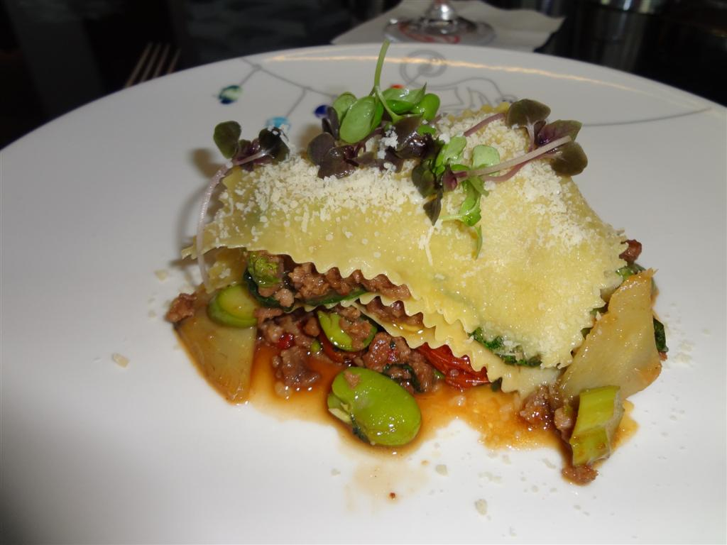 Lamb lasagna with fava beans
