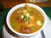 Seafood gumbo under flash