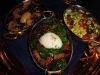 Foie gras rice, Spring succotash, rainbow chard with egg