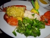 Steamed lobster with butter sauce