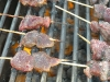 Pork livers on the grill