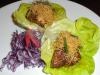 Miso cod with foie in lettuce cups