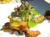 Turbot with chanterelles and pea puree