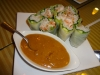 Crab rolls with peanut sauce