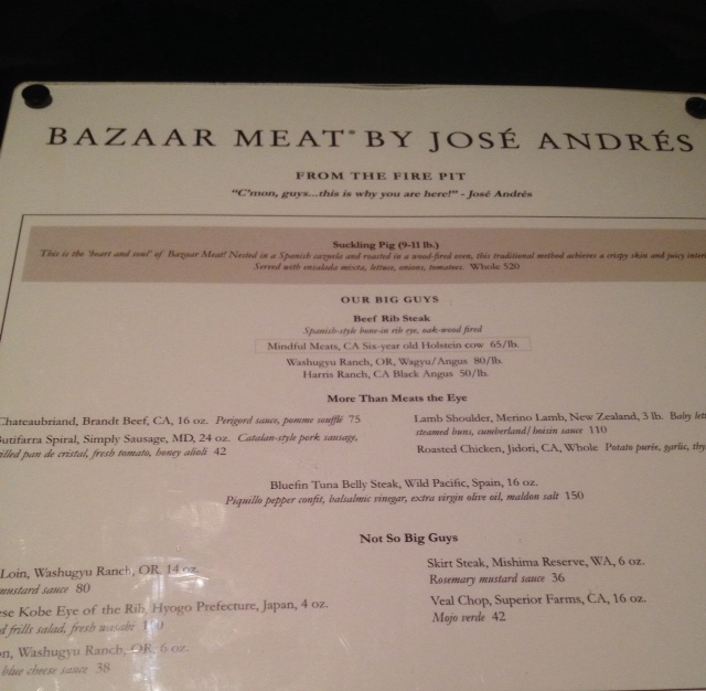 Bazaar meat menu