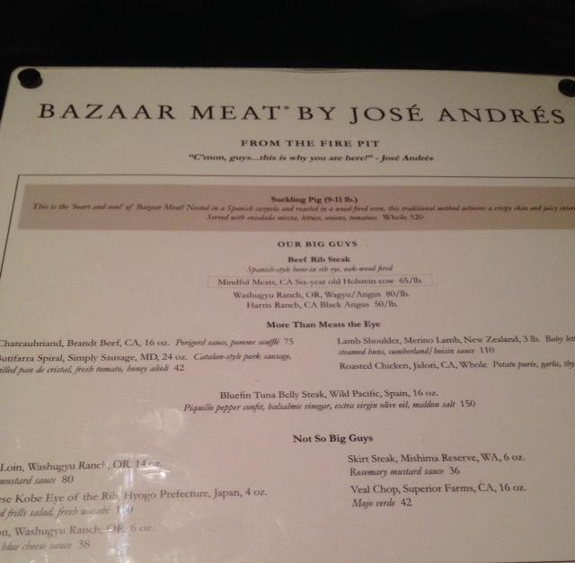 Bazaar meat menu